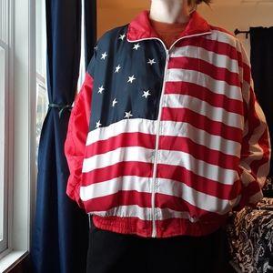 Vintage USA Flag Windbreaker